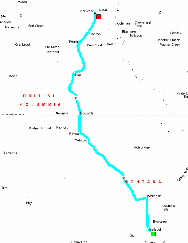 photo about Printable Map of Montana named Printable Map in opposition to Kalispell, Montana toward Sparwood, British